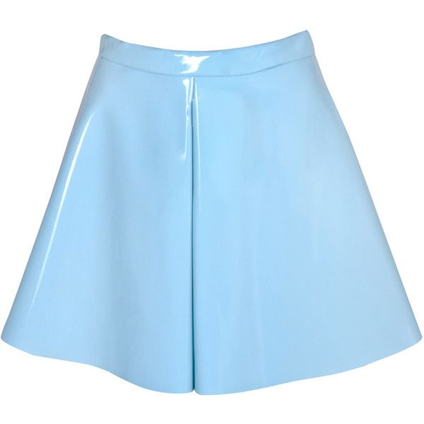Pastel Blue High Shine Vinyl Skater Skirt ($34) ❤ liked on Polyvore featuring skirts, bottoms, blue, circle skater skirt, flared skater skirt, circle skirt, knee length skater skirt and shiny skirt