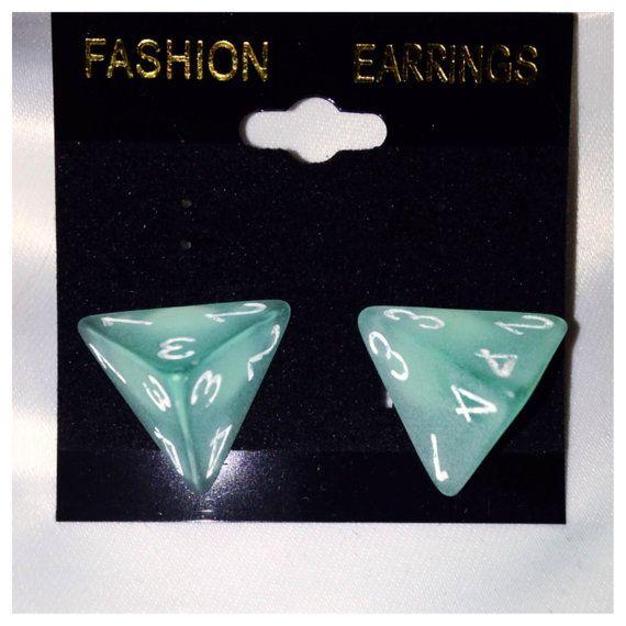 Frosted Blue D4 Dice Earrings Nerd Jewelry Geek by NerdityShop