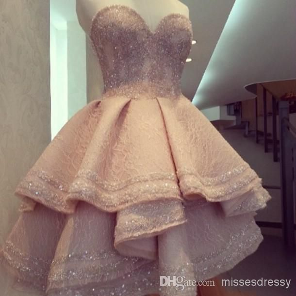 Exquisite Sexy Sequins Short Attractive A-line Homecoming Dresses Cascading Ruffles Sleeveless Sweetheart Zipper Back Prom/Party Gown from Missesdressy,$145.24 | DHgate.com