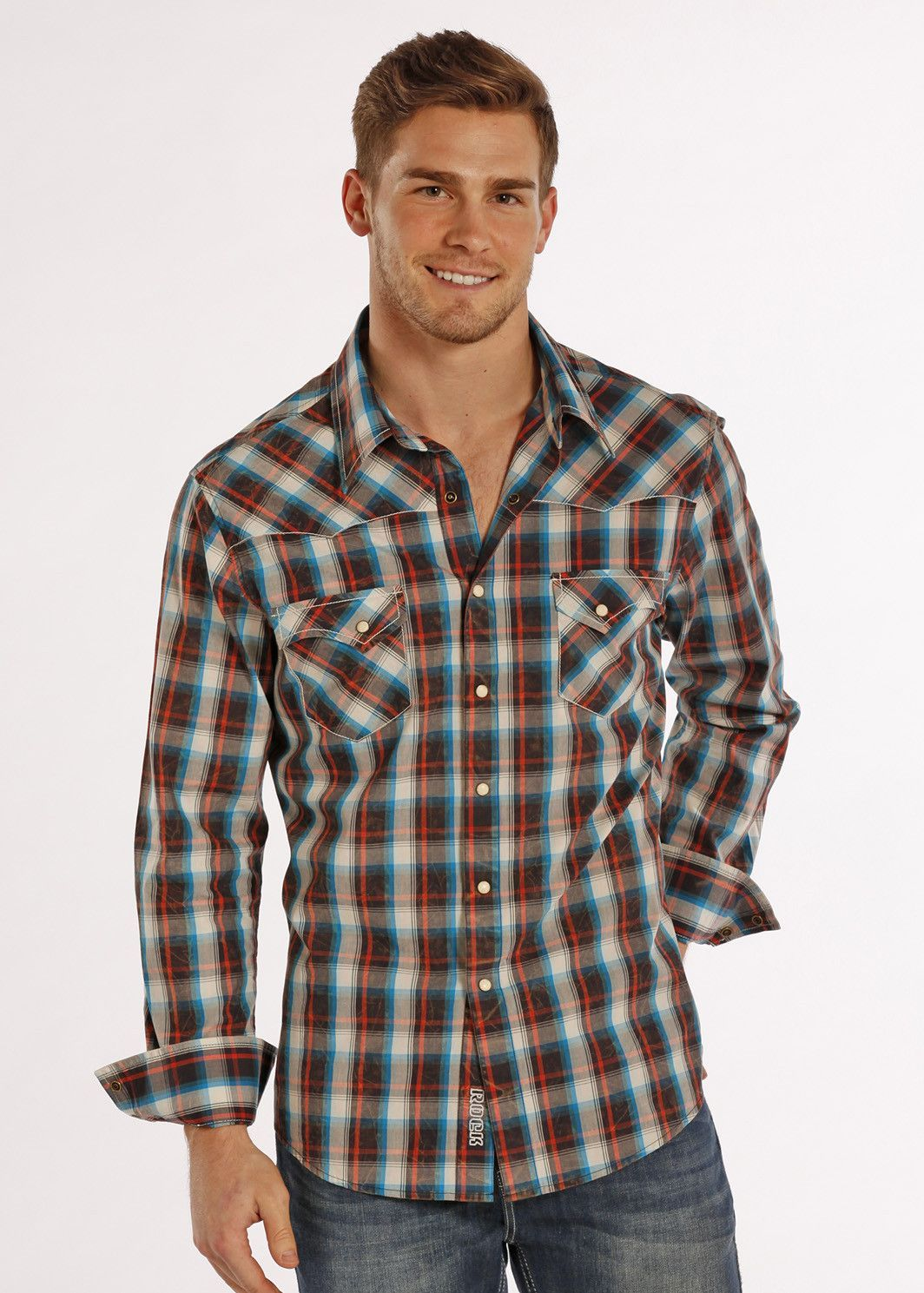 0691050c Rock & Roll Cowboy Men's Long Sleeve Brushed Flannel Western Shirt B2S8401