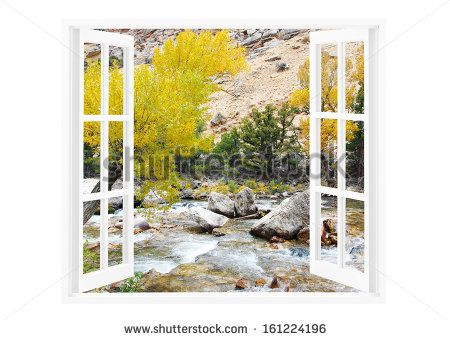 Open Window With Beautiful Nature On A Background Stock