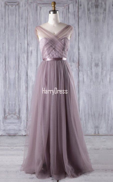 Light Purple A Line V Neck Lace Tulle Floor Length Sashes Ribbons  Bridesmaid Dress