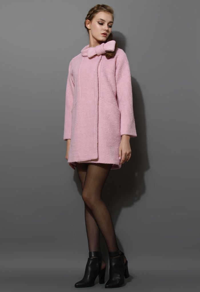 Wool-Felt Tweed Coat with Bowknot in Pink - New Arrivals - Retro, Indie and Unique Fashion