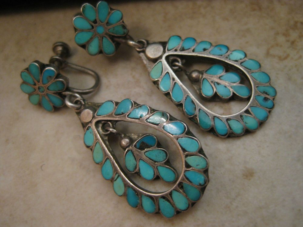 ef1a34c06c0 EXTREMELY RARE EARLY vintage Zuni FRANK DISHTA TURQUOISE INLAY STERLING  EARRINGS