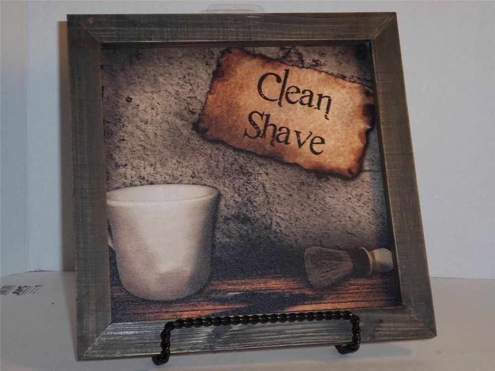 NEW VINTAGE LOOK FRAMED BATHROOM CANVAS PICTURE CLEAN SHAVE MAN CAVE BATHROOM #Unbranded #VintgeCountry