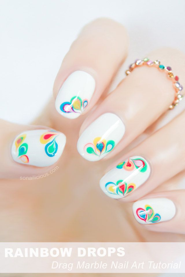 Rainbow Drops Drag Marble Nail Art - Tutorial | Marble nail art ...