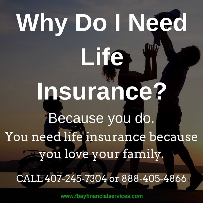 Because you do. When you buy life insurance, you're ...