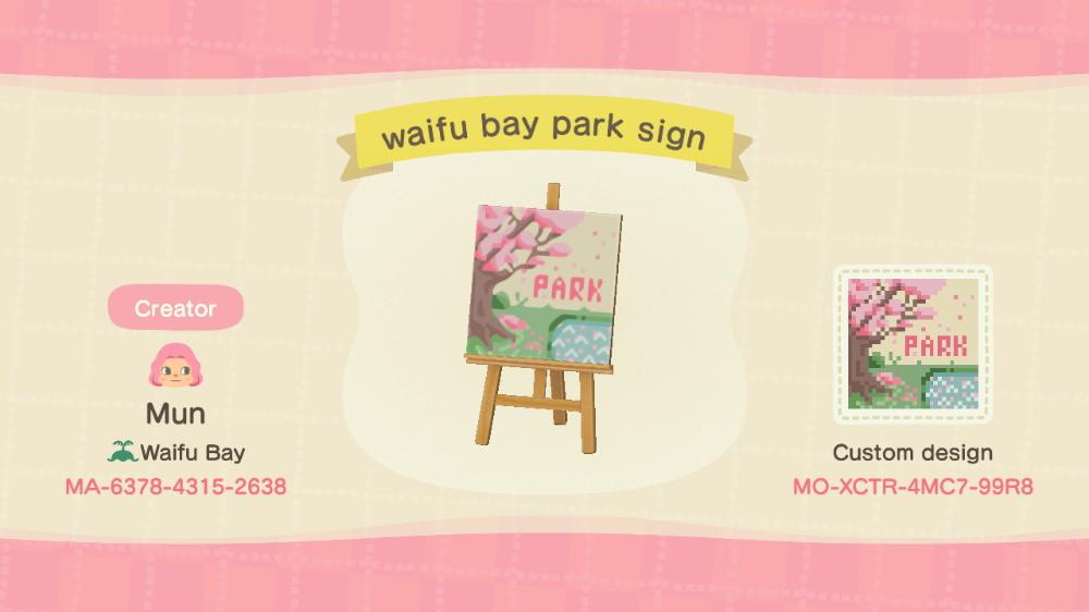Cherry Blossom Park Sign Designed By Mun Of Waifu Acnh Custom Designs Animal Crossing Animal Crossing Qr Animal Crossing Game