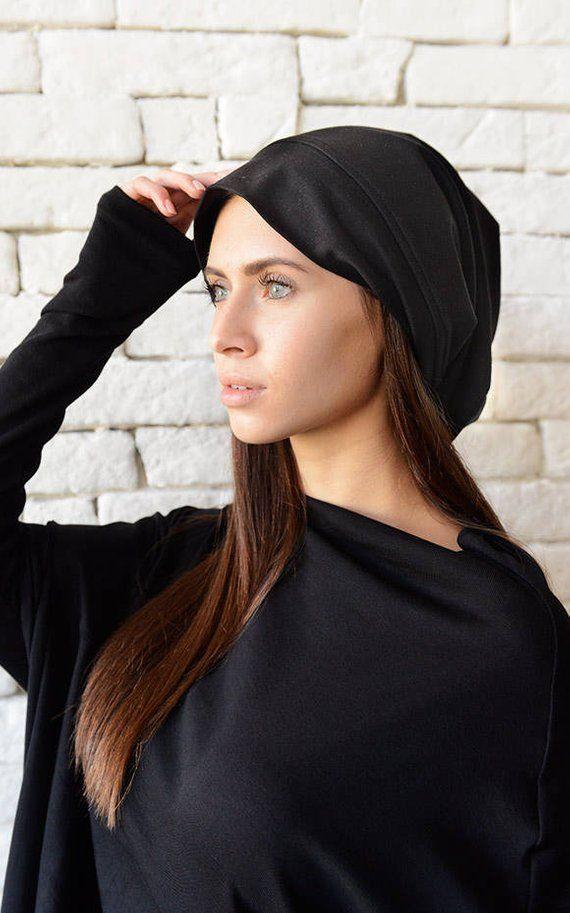 8371a47af83f2 Black Drape Hat Asymmetric Black Beanie Slouchy Beanie Unisex Beanie Hat  Oversize