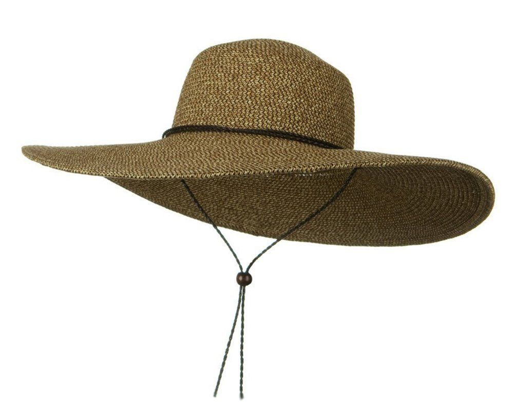7c32c90813e Womens Floppy Wide Brim Packable Sun Hat Two Tone Brown with Chin Strap     Special product just for you. See it now!   Best Travel accessories for  women