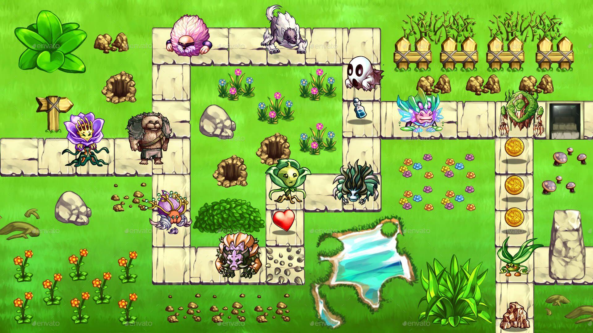 2D Platformer Cartoon Creatures Game Assets Bundle w Sprites #Ad