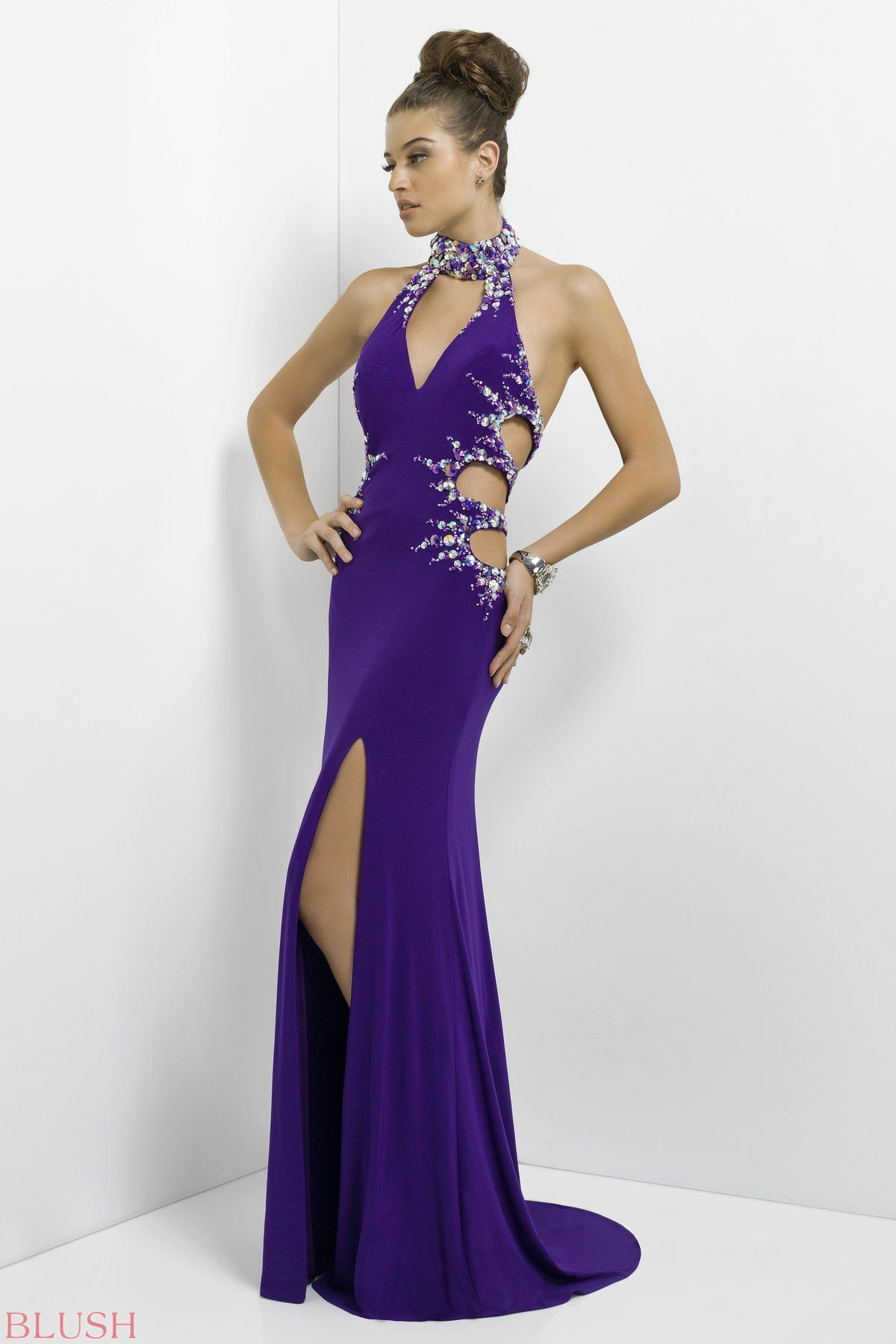 07ab709c68dc Rock the dance floor! This sexy gown has a sparkling beaded choker ...
