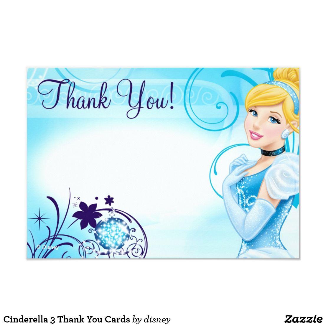 Cinderella thank you card Disney Princess thank you card princess Cinderella thank you card- Digital file Princess thank you card