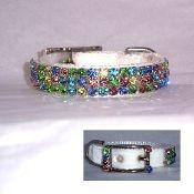Bright Lights Swarovski Crystal Collar - A white nylon collar with white velvet overlay and decorated with a variety of pastel colored genuine Swarovski Crystals. Perfect for Easter, Mardi Gras, Christmas or anytime!