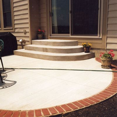 columbus ohio concrete patio with paver edge | Outdoor ideas ...
