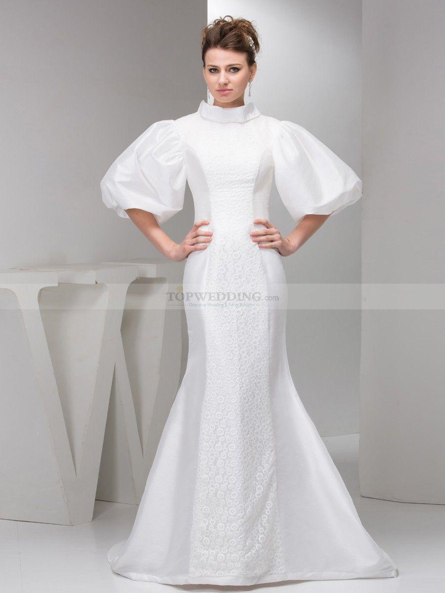 Balloon Sleeved Lace and Taffeta Mermaid Wedding Dress