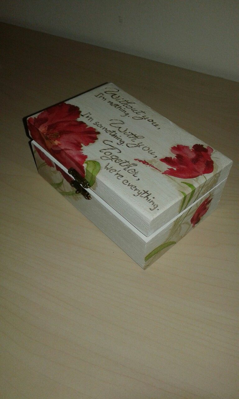 Pyrography and decoupage techniques. Jewerly gift box