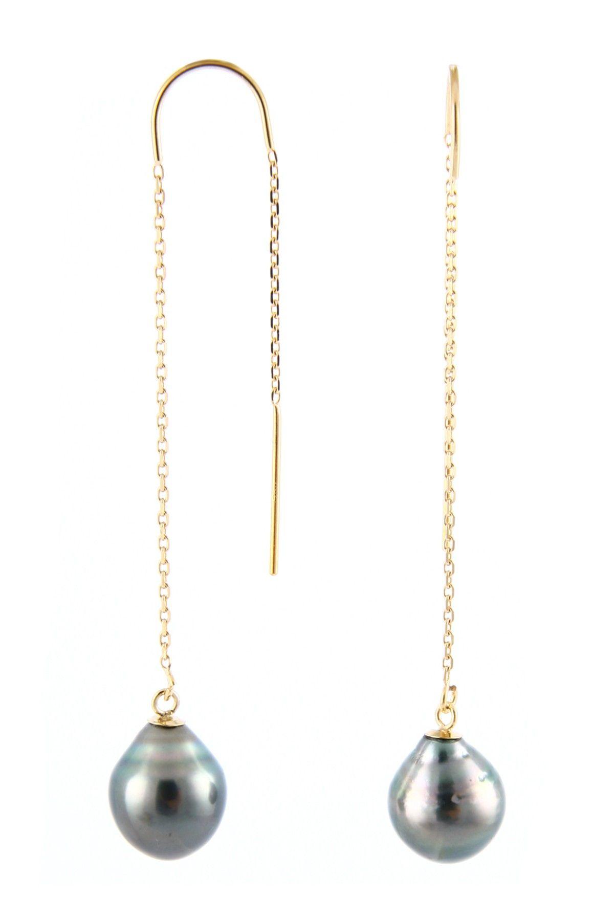587ad4921dc Splendid Pearls 14K Yellow Gold 7.5-8mm Tahitian Pearl Threader ...