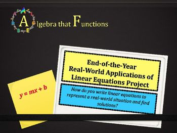 Math Project Linear Equations Open Ended Real World Application