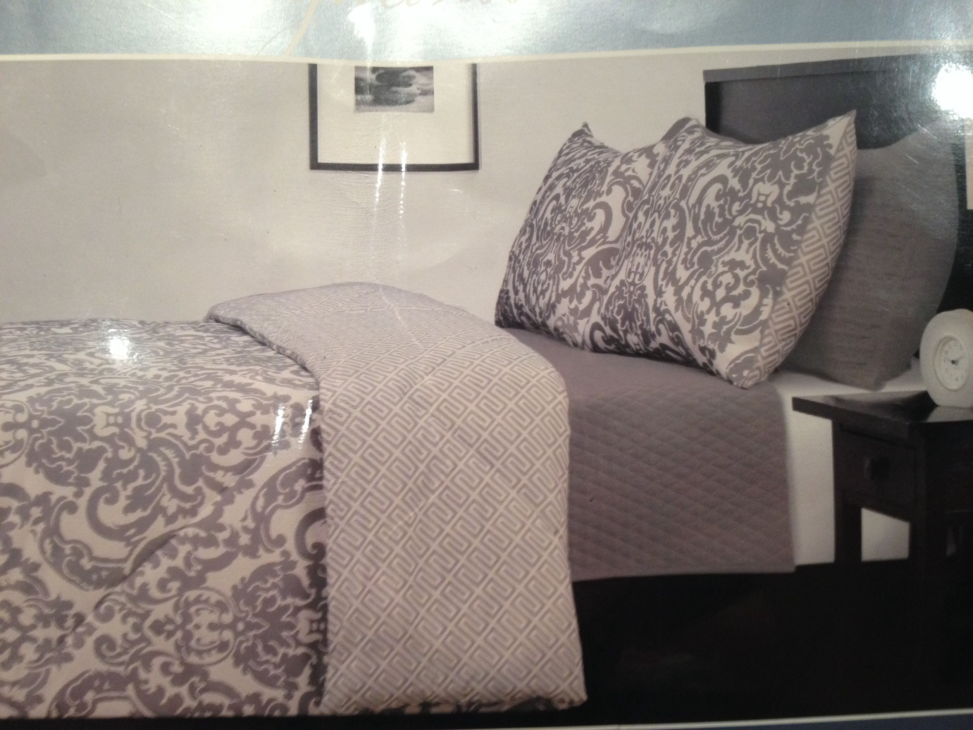 grey damask bedding set - costco | master bedroom | pinterest