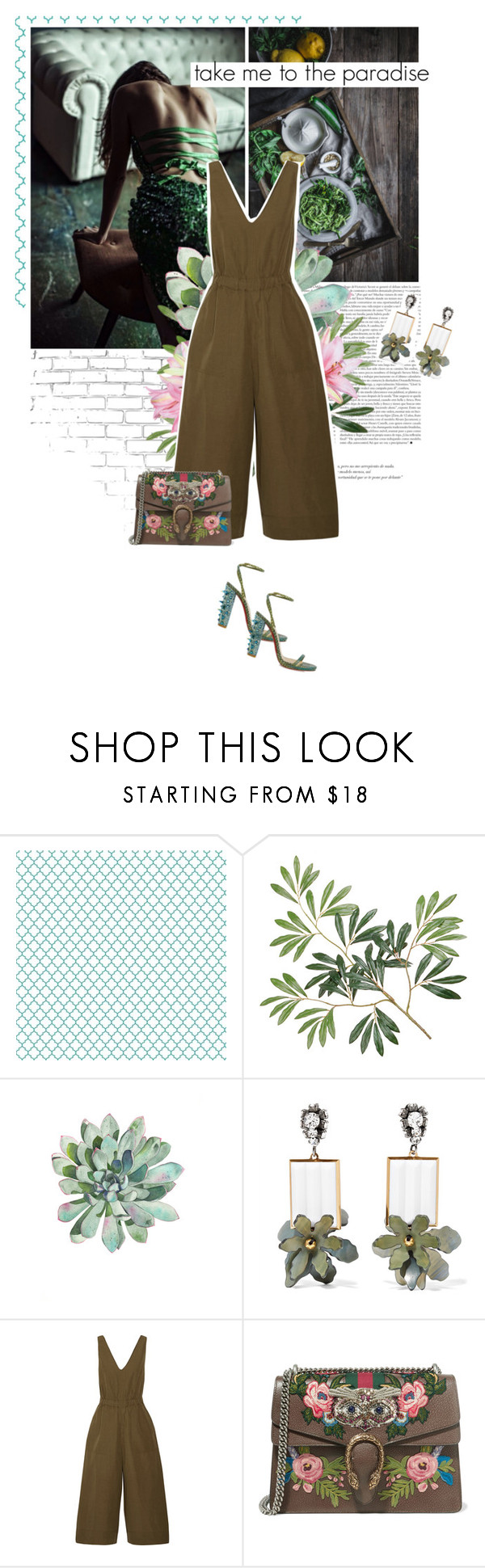 """""""take me to the paradise"""" by eve-angermayer ❤ liked on Polyvore featuring WALL, Marni, Ulla Johnson, Gucci, Christian Louboutin, Spring, GREEN, olive, eveangermayer and angermayerevelin"""