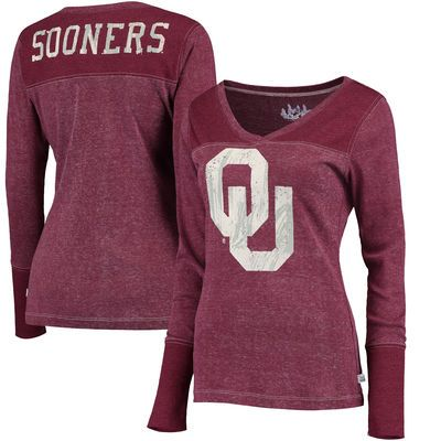 Oklahoma Sooners Touch by Alyssa Milano Women s Goal Line V-Neck Thermal  Long Sleeve T 92db4d311