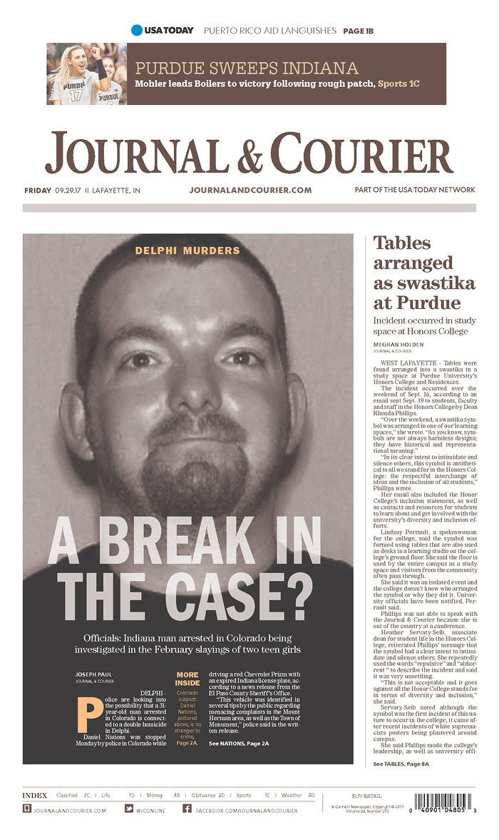 Delphi Murders 9/29/17 | newspaper design | Newspaper design