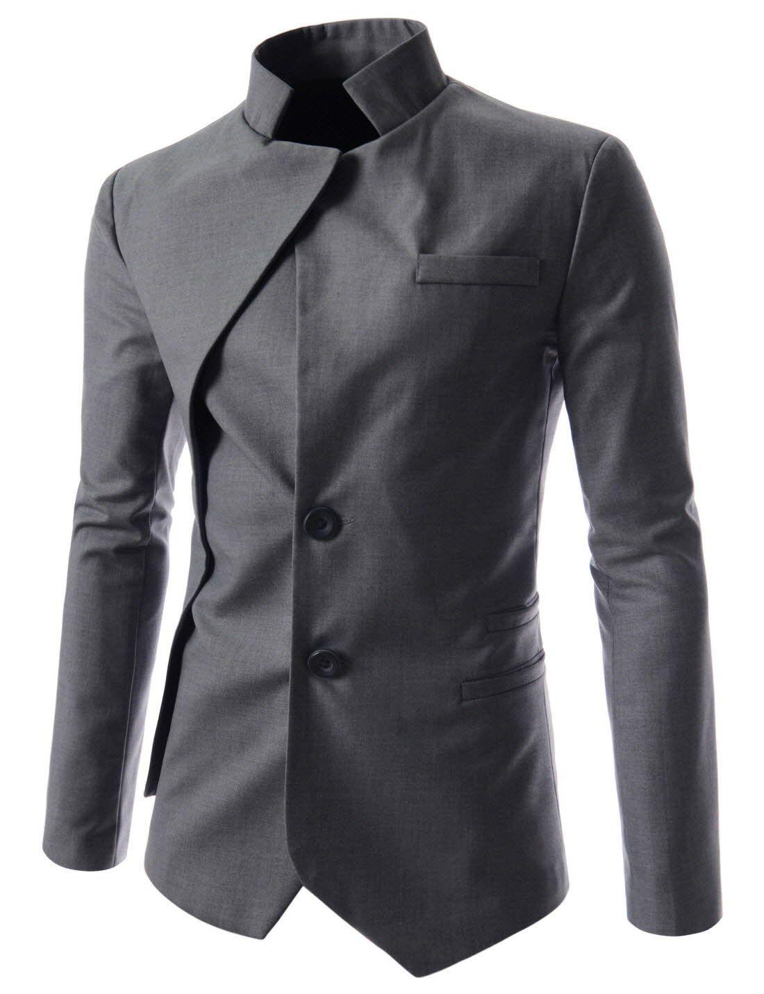 b1f51455f2 NJK) Mens unbalance 2 button china collar jacket   sweater land ...