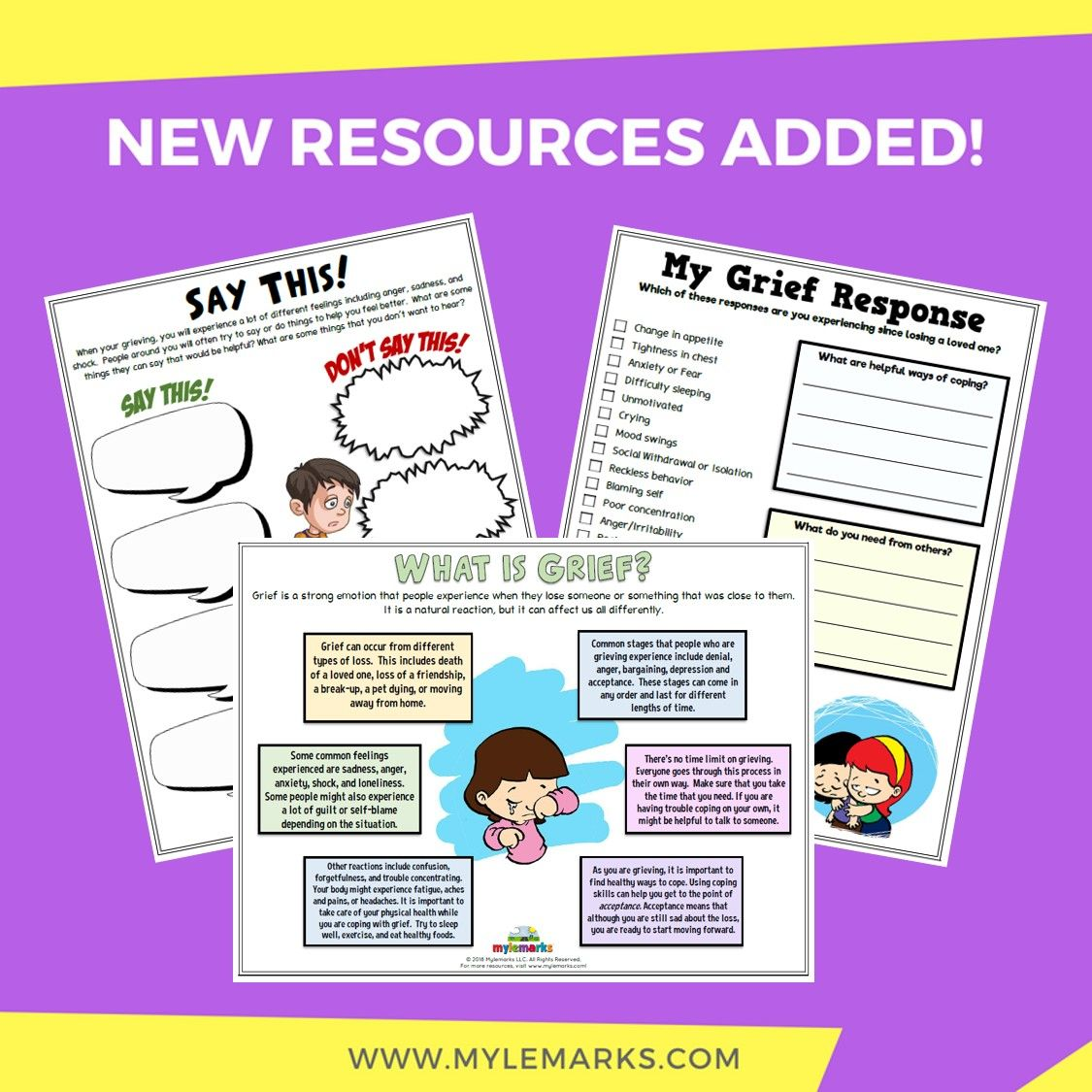 New Grief Worksheets Available At Lemarks