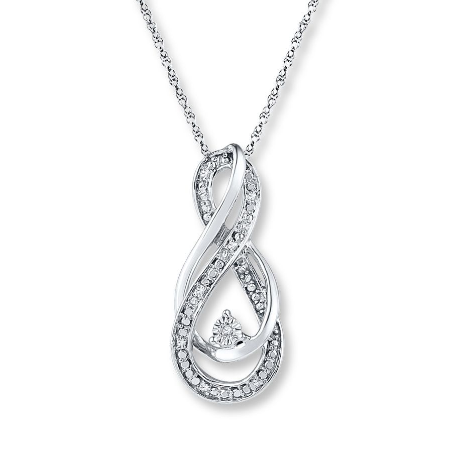Infinity symbol necklace diamond accents sterling silver infinity loops of sterling silver and diamonds intertwine to create a double infinity symbol in this beautiful necklace for her an additional diamond adorns the biocorpaavc Image collections