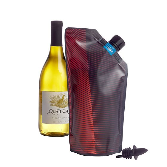 Vapur Wine Carrier Avoid broken bottles and transfer your Pinot into this collapsible wine carrier, large enough to hold an entire bottle. ($11.95, CB2.com)