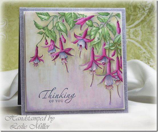 BWFuchsiasFeb2014 - Leslie Miller's amazing coloring technique and exquisite card (Beeswax stamp)