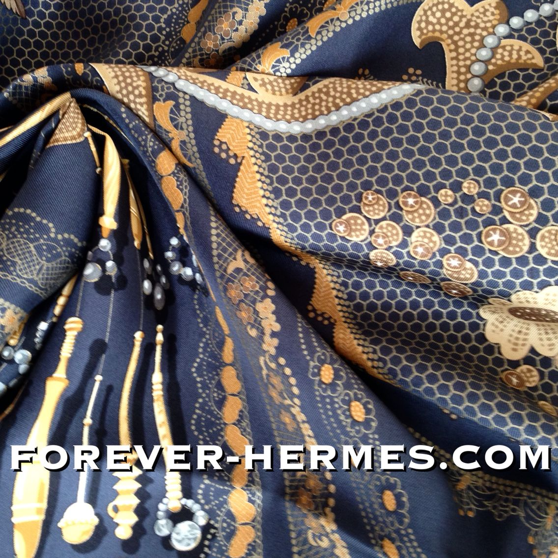 Doigts De Fee is the title of this stunning #Hermes #scarf designed by Cathy Latham that features #lace & #embroidery in an open web like pattern Needle Lace #Cutwork Bobbin lace, #Chantilly lace, #Macrame #tatting #crochet on an elegant greyish-navy base with gold threads. In our store now http://forever-hermes.com #foreverhermes this #HermesCarre would look amazing even on a stylish #dapper  #gentleman #MensSuit #mensfashion #mensnecktie #womensfashion #Hermes #silk #scarf