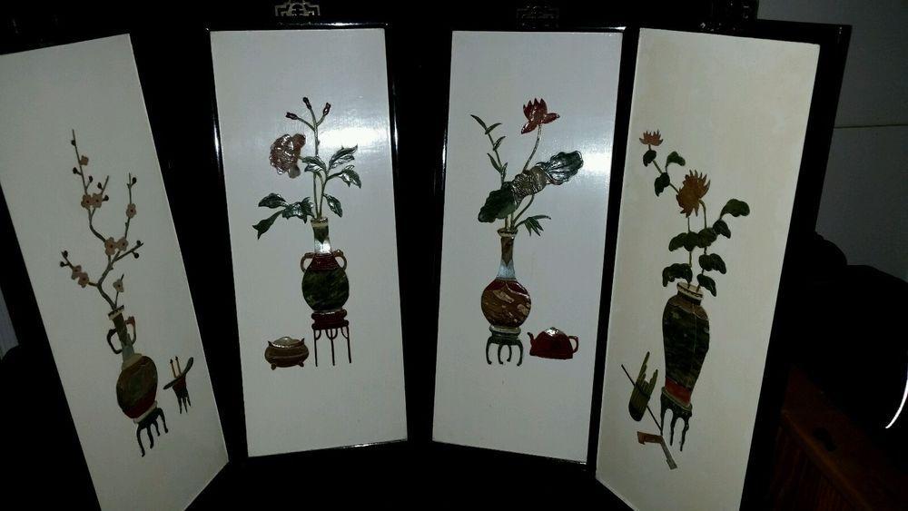 Set of 4 ANTIQUE/VINTAGE CHINESE/Japanese  Soapstone on Wood  PANEL FRAMED