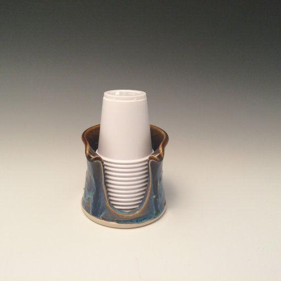 Cream Bathroom Dragonfly Cup Holder (3 Oz)   Pottery Bathroom Cup Holder    Pottery Bathroom Cup Dispenser   Handmade   Ready To Ship