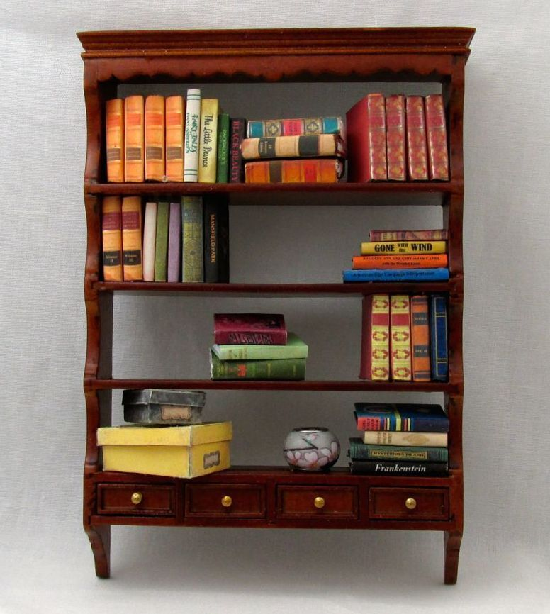 Dollhouse Miniature 1:12 Scale Set of 2 Wall Shelves in Cherry Finish