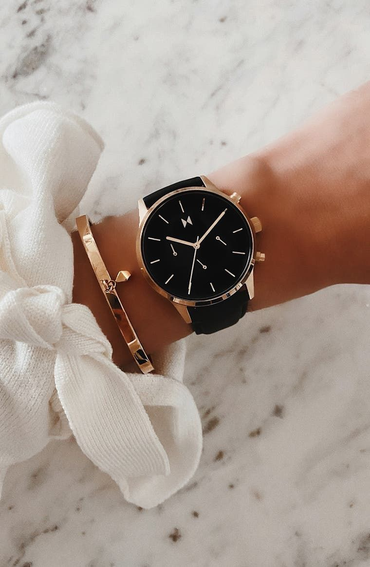 Mvmt Duet Chronograph Leather Strap Watch 38mm Nordstrom Ladies Dress Watches Classy Aesthetic Accessories [ 1164 x 760 Pixel ]