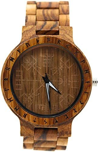 Buy VikingsBrand Arne Viking Wooden Watch Vegvisir Viking Symbol & Engraved Honor The Gods, Love Your Woman, Defend Your Kin Saying Runic Circle online #vikingsymbols
