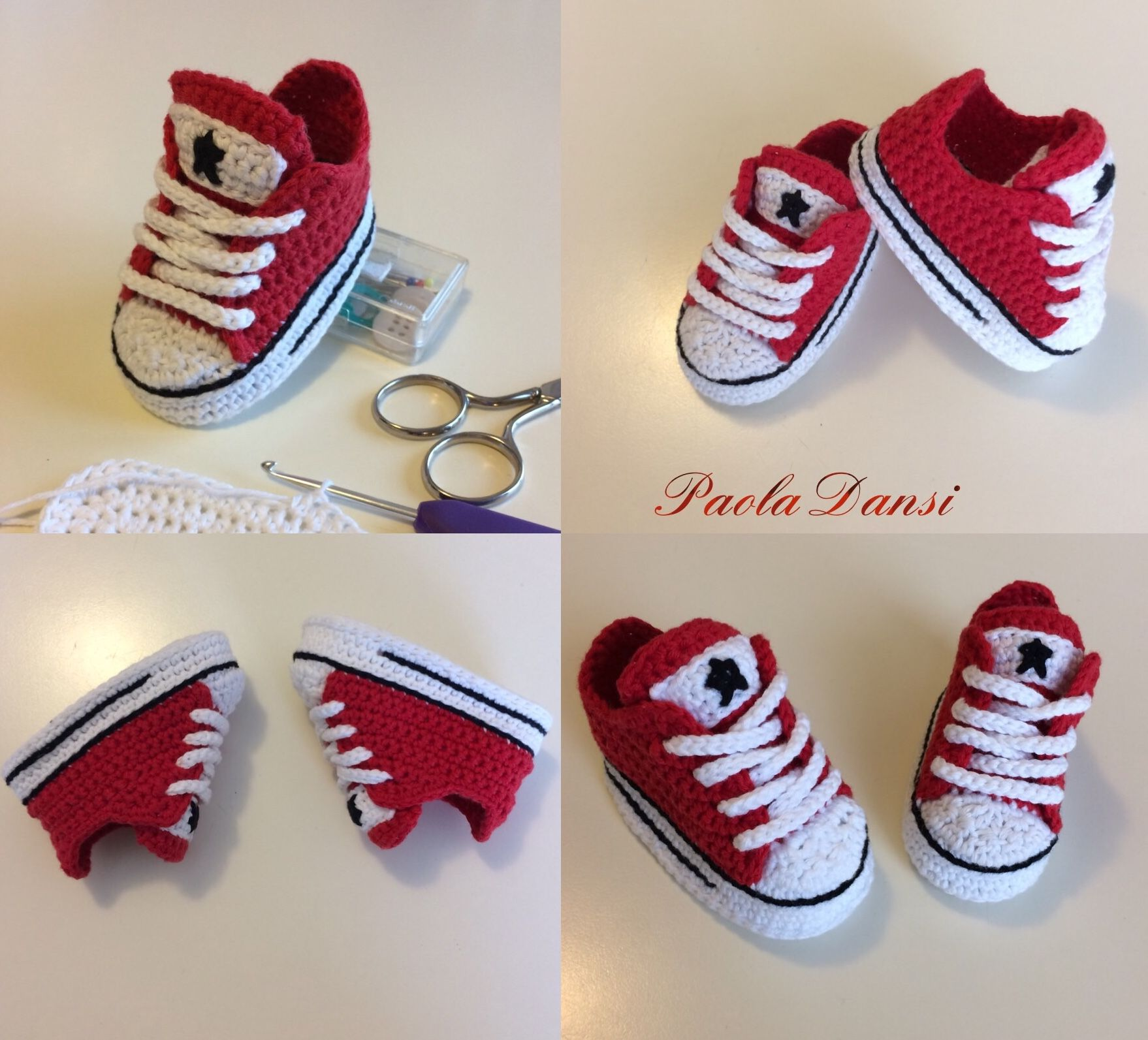 53e3cdf96c9 Crochet baby booties Converse style