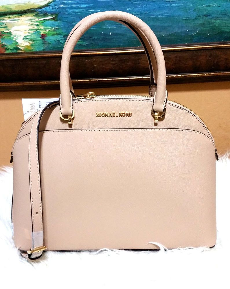1d9bec971 Michael Kors EMMY Large Dome Satchel Leather Handbag purse Oyster Cindy NWT  #MichaelKors #MessengerCrossBody