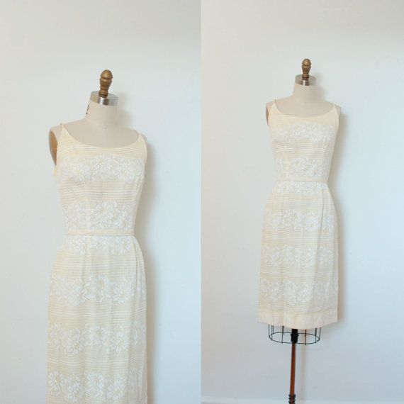 2646cdccf27 Vintage 1960s Dress   60s Yellow and White Lace Wiggle Dress ...