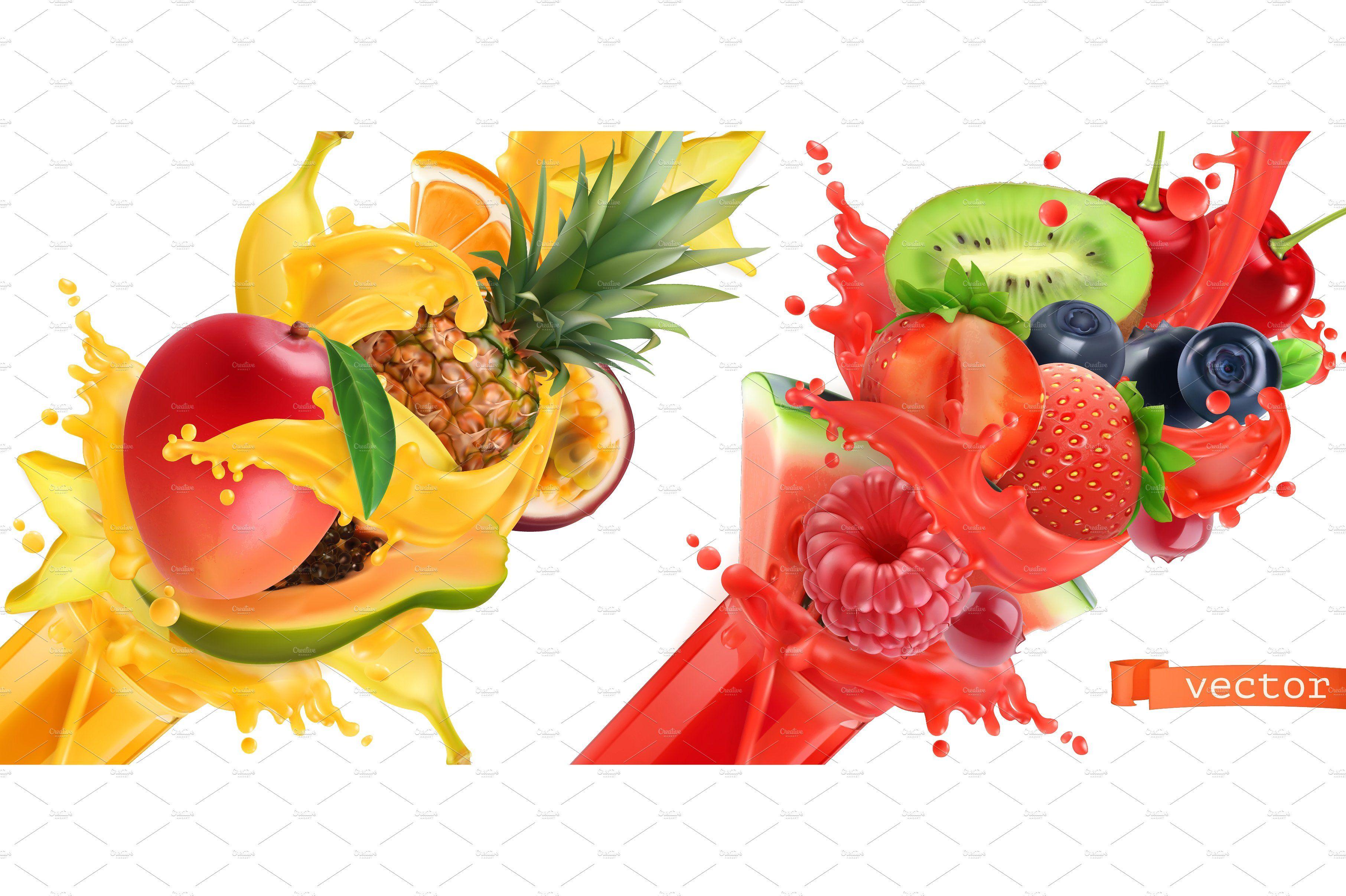 Fruit Burst Splash Of Juice Vector Fruit Tropical Fruits Mixed Berries