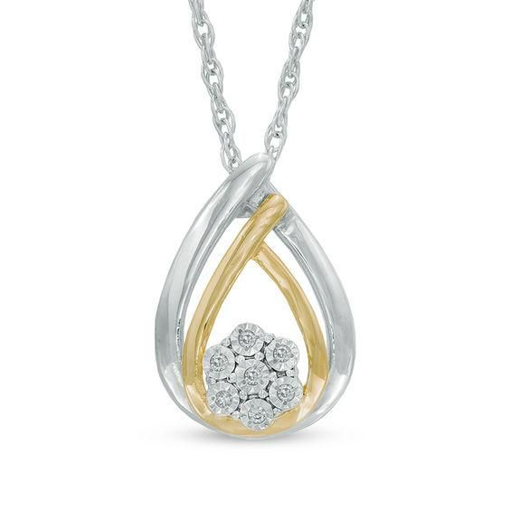 Zales Diamond Accent Double Teardrop Pendant in Sterling Silver MgKV4