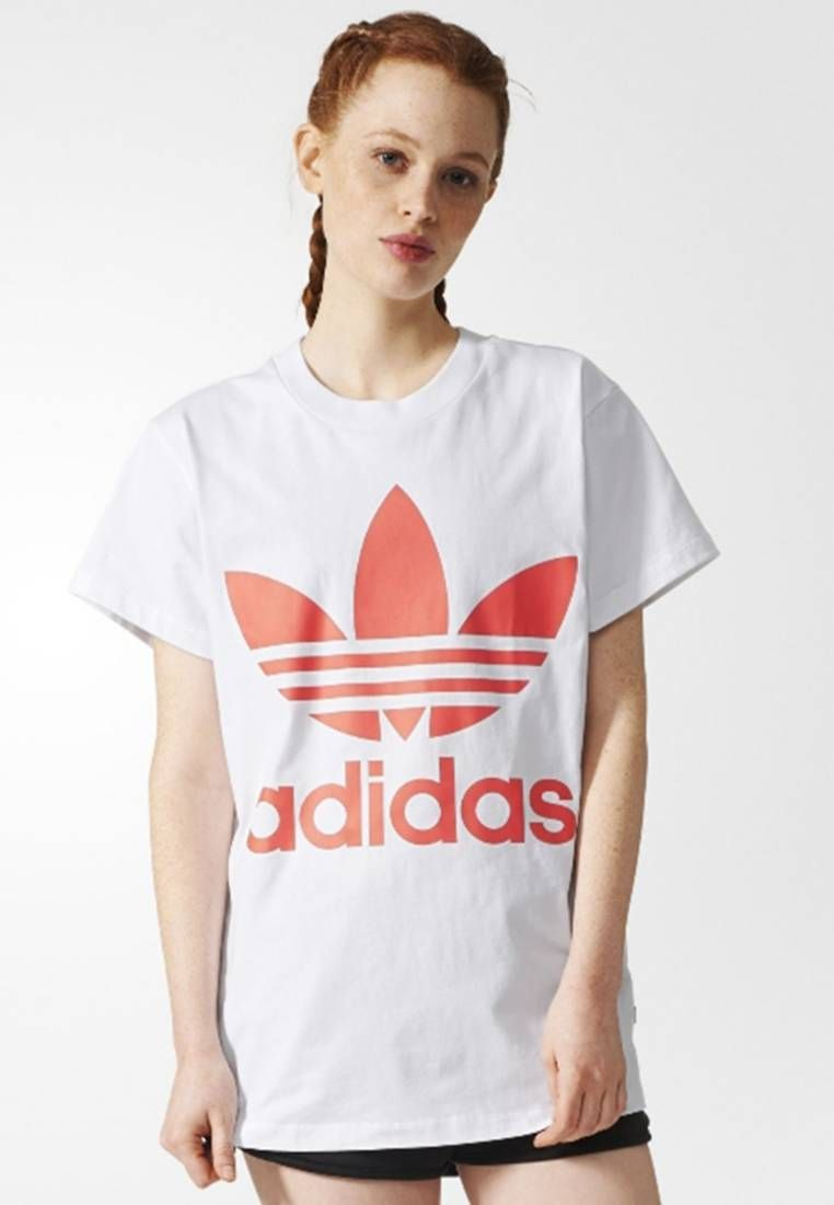 82ef3e6d adidas Originals. BIG TREFOIL - T-shirt con stampa - white/red ...