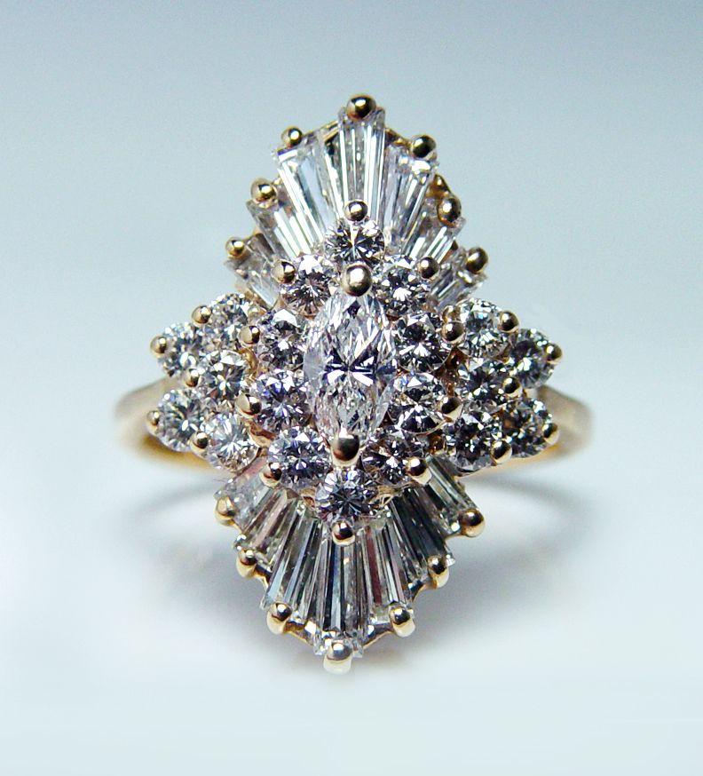 Vintage Art Deco Marquis Diamond CZ with Fan Baguettes Ring