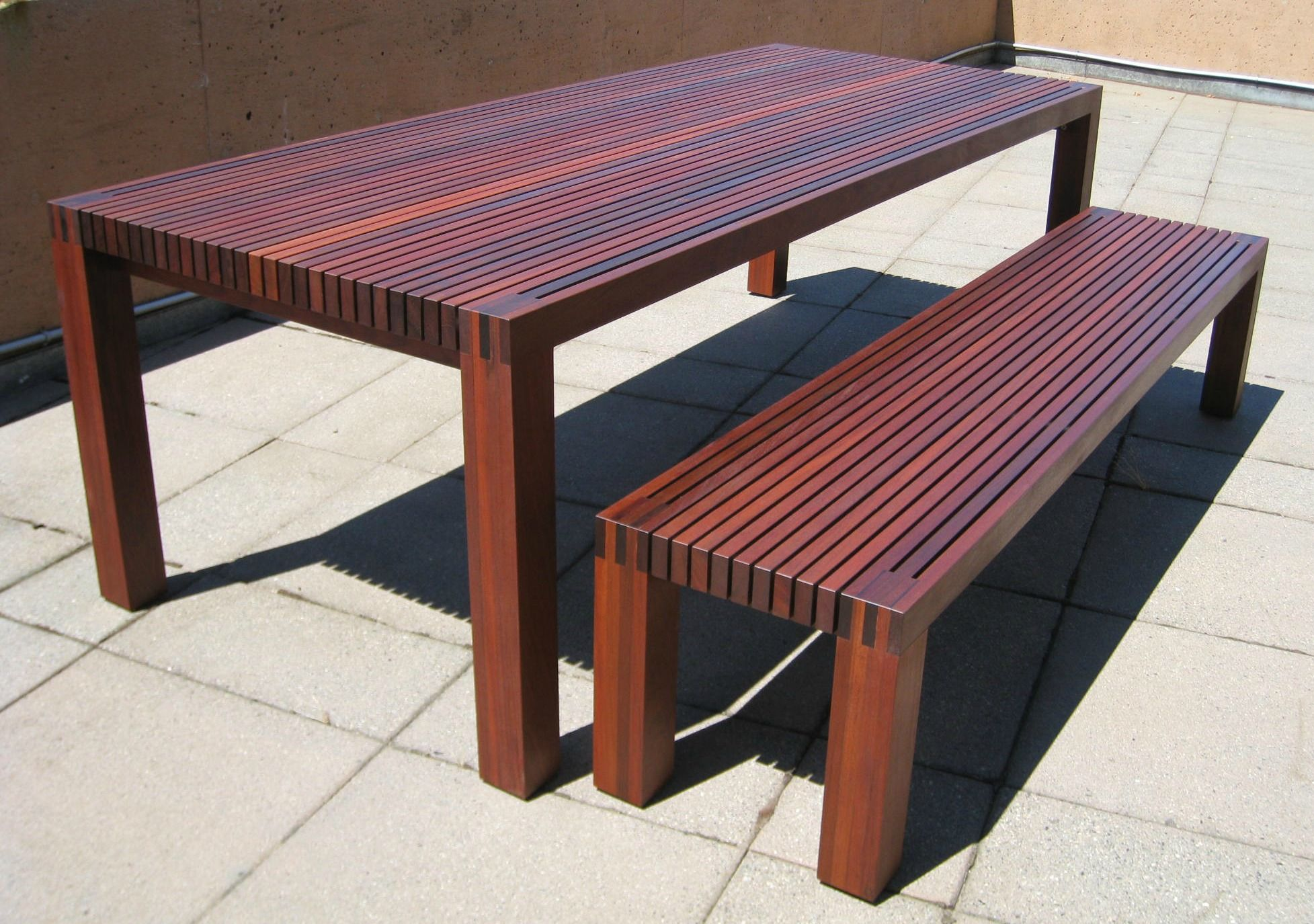 6 slatted outdoor table bench ipe wood table diy diy