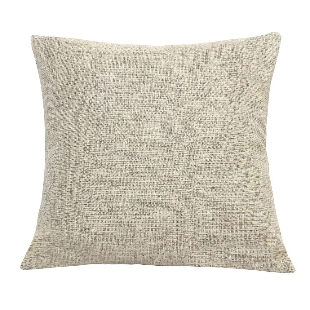 Beige Tweed Throw Pillow