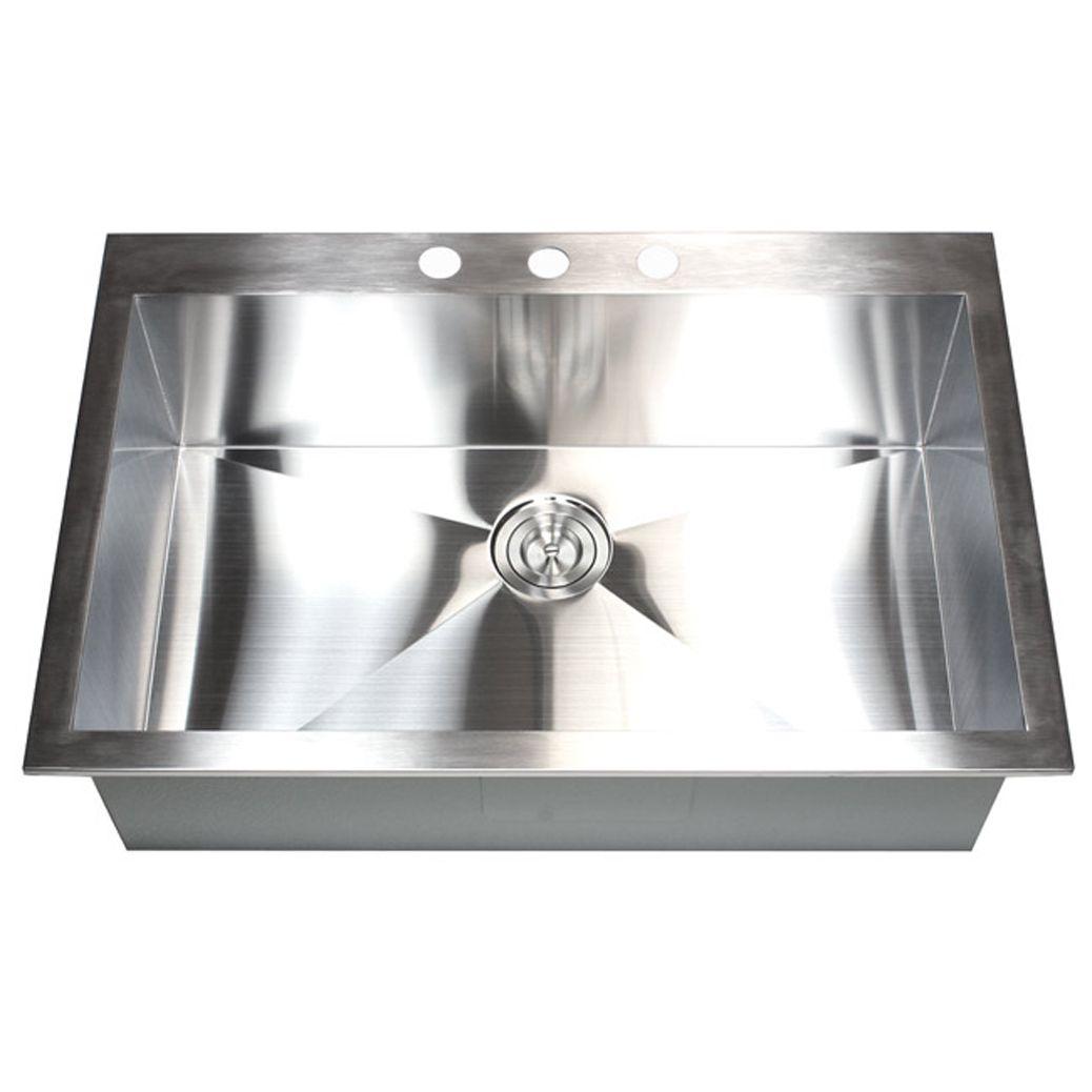 Stainless steel single bowl topmount drop in zero radius kitchen sink - 36 Inch 16 Gauge Stainless Steel Single Bowl Topmount Drop In Zero Radius Kitchen Sink