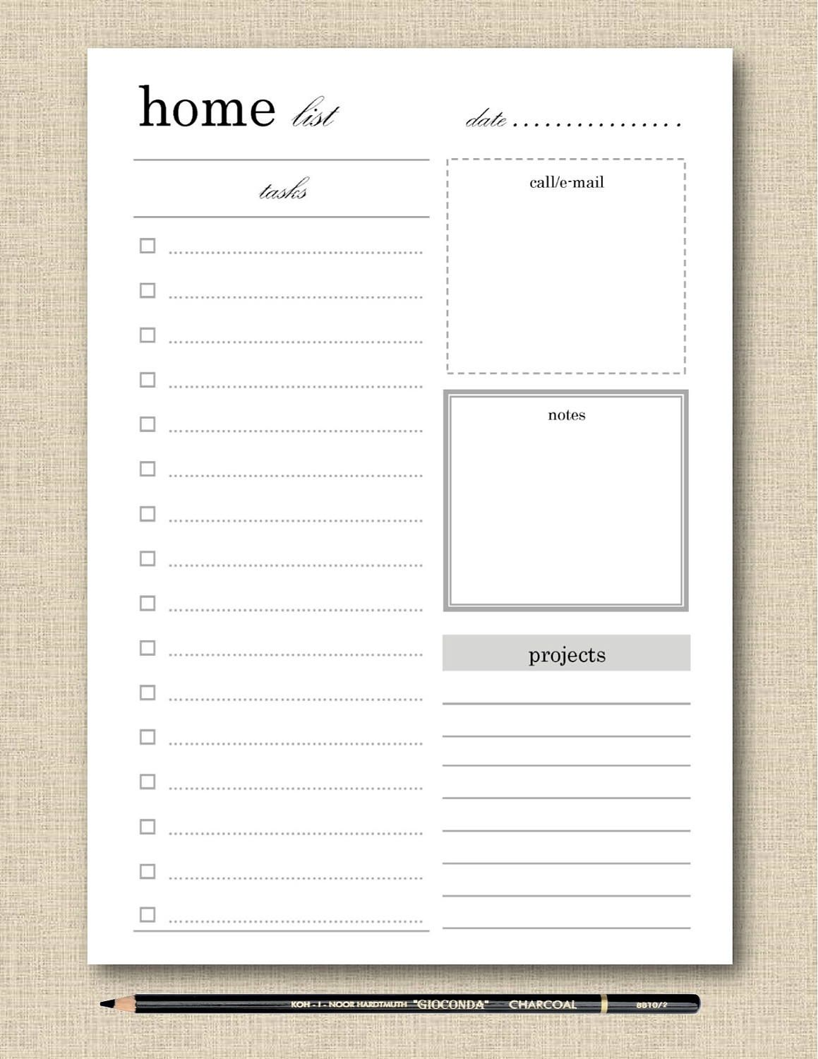 LifeS Lists Printable Home Task List  Household Task List Black