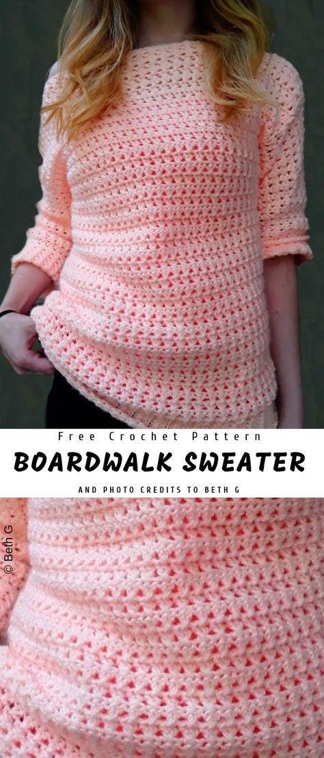 Boardwalk Crochet Sweater with Free Pattern #crochetpatterns
